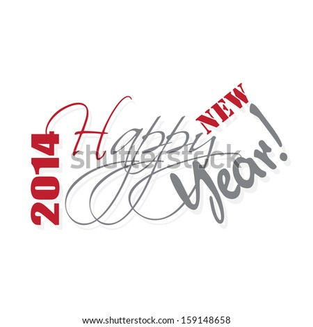 Happy new year hand lettering. - stock photo