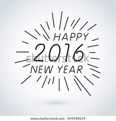 HAPPY NEW YEAR hand lettering, art - stock photo