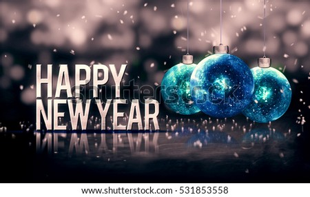 Happy New Year Hanging Baubles Blue Bokeh Beautiful 3D Grayscale Background