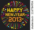 happy new year 2013 (happy new year firework, 2013 happy new year greeting card or background) - stock vector
