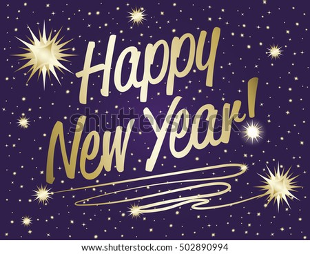 Happy New Year=Happy New Year text in gold gradient with sparkle stars on purple night background