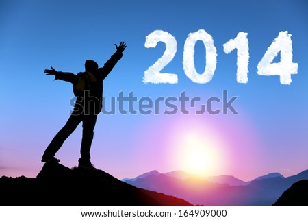 happy new year 2014.happy young man standing on the top of mountain - stock photo