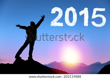 happy new year 2015.happy young man standing on the top of mountain - stock photo