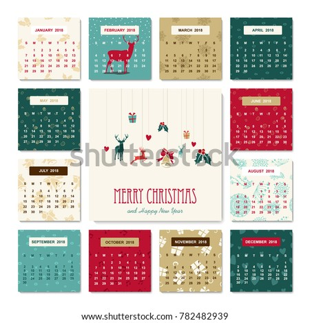 Happy New Year  Holiday Calendar Stock Illustration