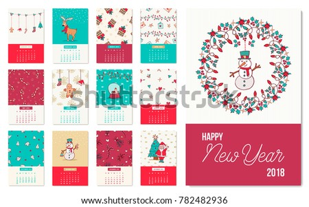 happy new year 2018 holiday calendar template with cute christmas hand drawn illustrations includes reindeer
