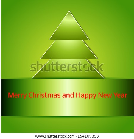 Happy new year. Holiday catchy background. Christmas tree cutted from paper on green background. Illustration with space for your text.