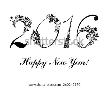 Happy new year 2016.  Illustration - stock photo
