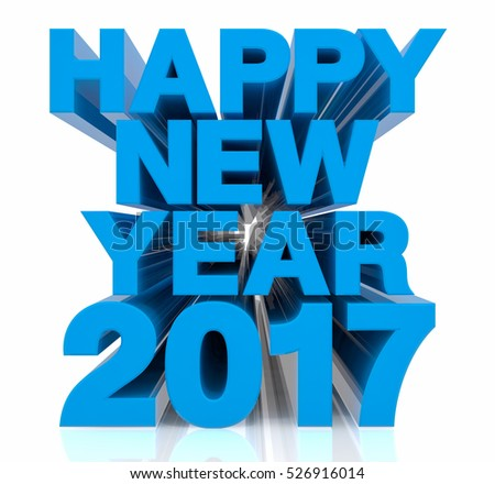 HAPPY NEW YEAR 2017 illustration 3d rendering