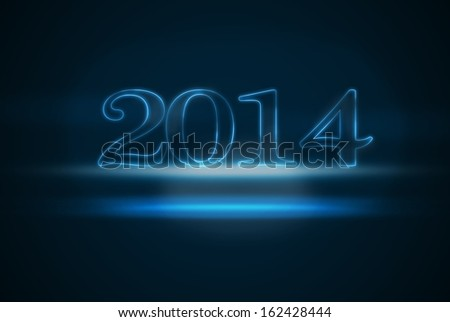Happy New Year 2014 illustration, with glowing text effect