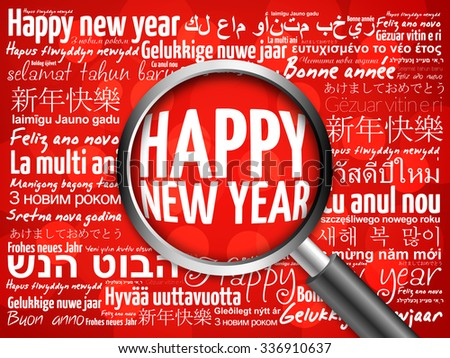 Happy New Year in different languages, celebration word cloud greeting card with magnifying glass on red background