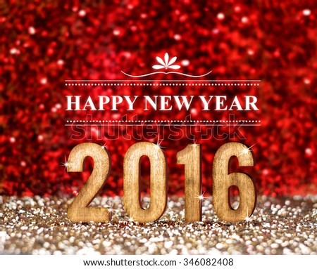 Happy New 2016 year in red and gold glitter background, Holiday concept design - stock photo