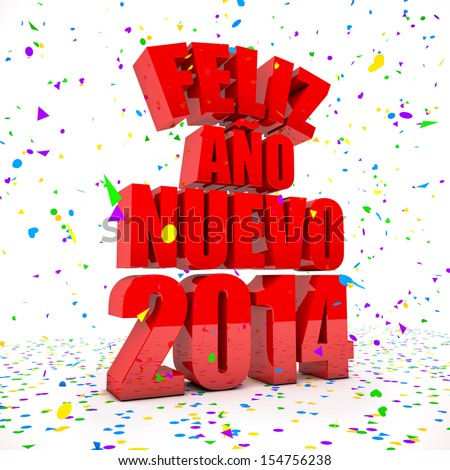 Happy New year 2014 in spanish languages - stock photo