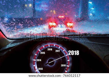 Happy New Year 2018 in the car