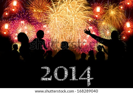 Happy New Year 2014 info-text clouds arrangement concept with firework show in the night sky as background - stock photo