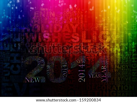 Happy New Year 2014 info-text clouds arrangement concept with fireworks and colorful as background