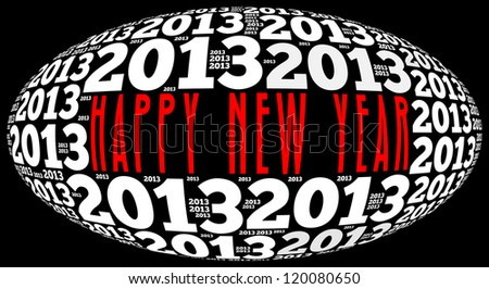 Happy new year 2013 info-text graphics arrangement on black background