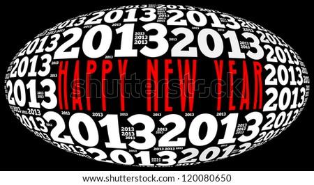 Happy new year 2013 info-text graphics arrangement on black background - stock photo