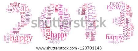Happy new year 2013 info-text graphics arrangement on white background
