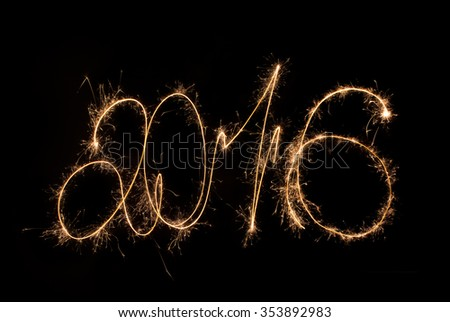 Happy New Year 2016 inscription sparklers.