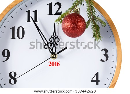 Happy New Year is approaching. The clock at five minutes to twelve. Isolation on a white background. Clipping path. - stock photo