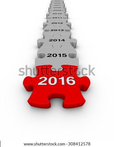 Happy New Year 2016. Jigsaw puzzle timeline. - stock photo