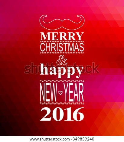 Happy New Year lettering Greeting Card. Blurred background with lights. Raster version - stock photo