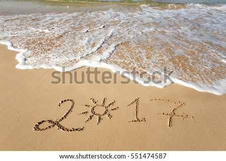 Happy New Year 2017, lettering on the beach.