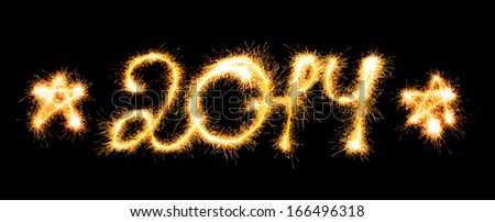 Happy New Year - 2014 made a sparkler - stock photo