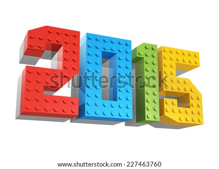 happy new year 2015 made of blocks for kids