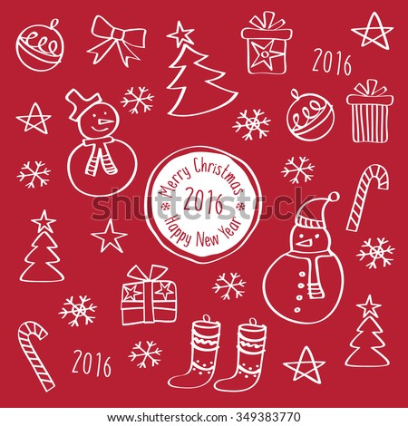 Happy New Year 2016. Merry Christmas. Template for Greeting Congratulations, Invitations. Hand drawing with chalk on the red background. Doodles, sketch, design elements.