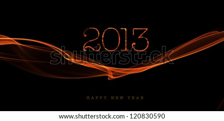 Happy new year 2013 message from flame background - stock photo