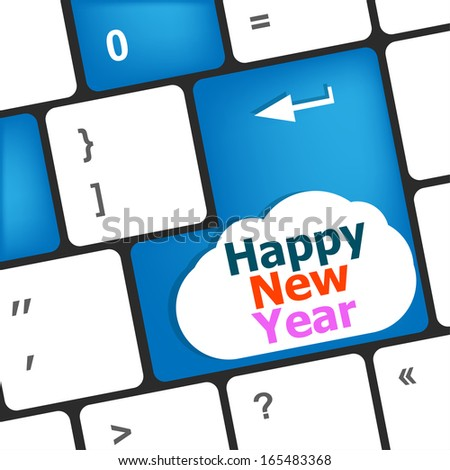 happy new year message, keyboard enter key button, christmas holidays