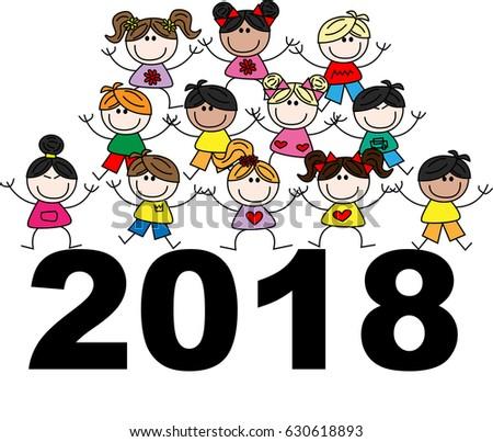 happy new year 2018 mixed ethnic stock illustration 630618893 rh shutterstock com religious happy new year 2017 clip art religious happy new year 2017 clip art