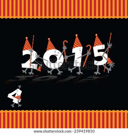 Happy New Year 2015 modern card,  - stock photo
