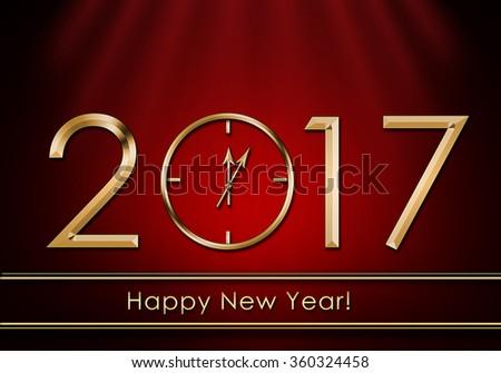 Happy New Year 2017. New Year Clock - stock photo