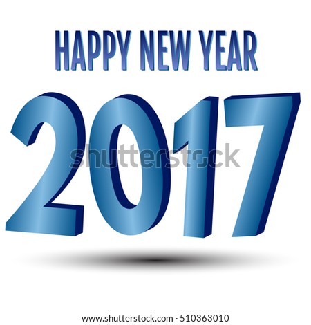 Happy New Year. 2017 New Year 3d blue numbers on a white background.