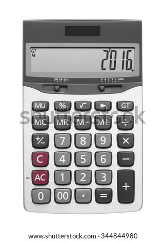 Happy New Year 2016 on Silver Calculator, isolated included clipping path - stock photo