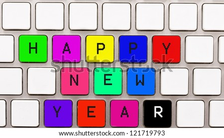 Happy new year on the keyboard button