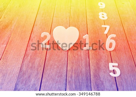 happy new year 2016,on wood background - stock photo
