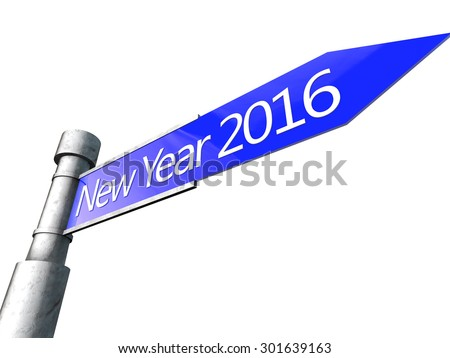 Happy New Year 2016 over white Background