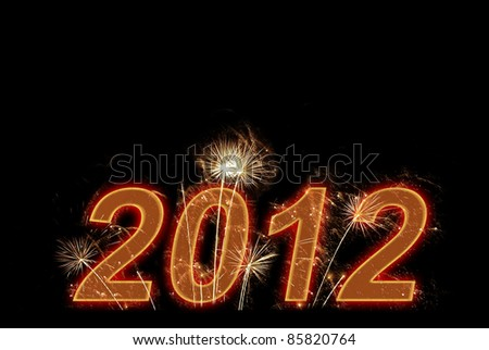 Happy new 2012 year. Postcard with fireworks and free space - stock photo