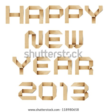 Happy new year 2013 recycled paper background. - stock photo
