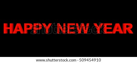 happy new year red 3d letters isolated on black