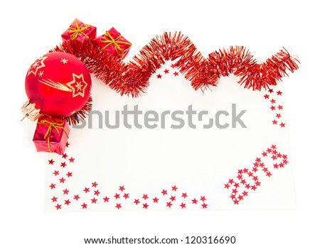 Happy New Year 2013 red greeting card with red tinsel, ball, gift boxes isolated on white - stock photo