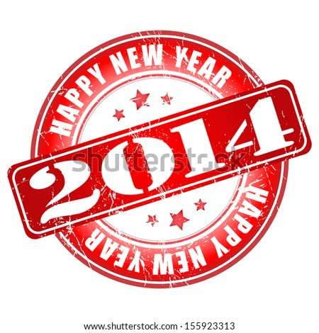 Happy new year 2014 red grunge rubber stamp.