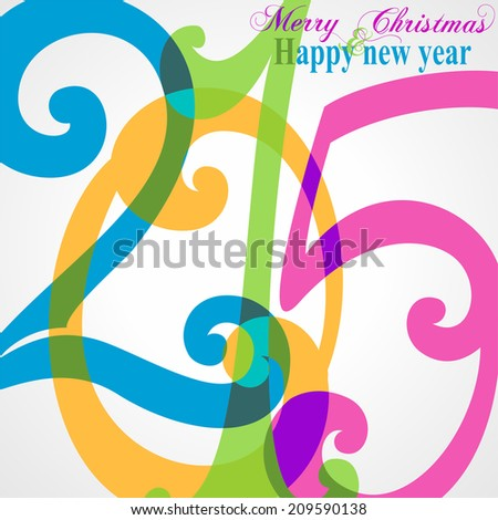 Happy new 2015 year. Seasons Greetings. Colorful design. Raster  illustration.  - stock photo