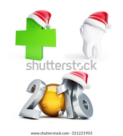 happy new year set 2016 santa hat 3d Illustrations on a white background