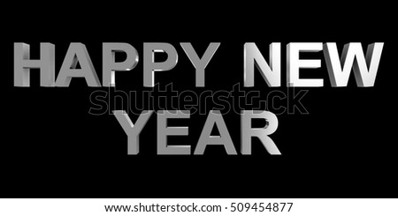 happy new year silver 3d letters isolated on black
