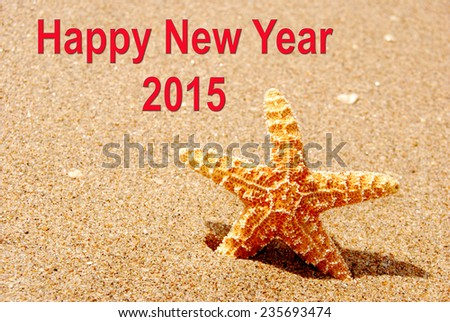 Happy New Year 2015 Starfish Shell - stock photo