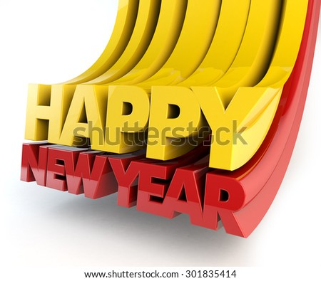 Happy new year text 3d. Template for designers,  path save